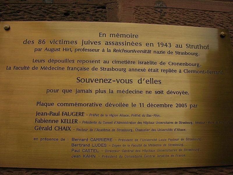 Gedenktafel an die Opfer von Prof. Hirt; Foto: Claude Truong-Ngoc, Wikimedia Commons