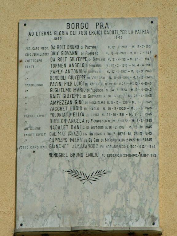 Gedenktafel im Borgo Pra