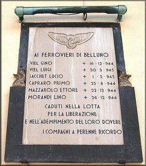 Gedenktafel am Bahnhof Belluno