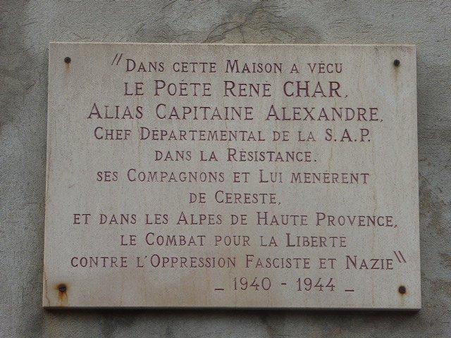 Gedenktafel René Char an seinem Wohnhaus