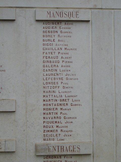 Mémorial, Ausschnitt: 28 Opfer aus Manosque