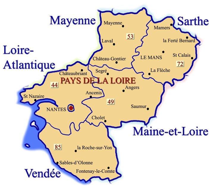 Region und Departements; Quelle: pays-de-la-loire.ffrandonnee.fr