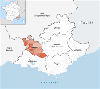 Lage des Departements Vaucluse; Quelle: Tschubby, wikipedia