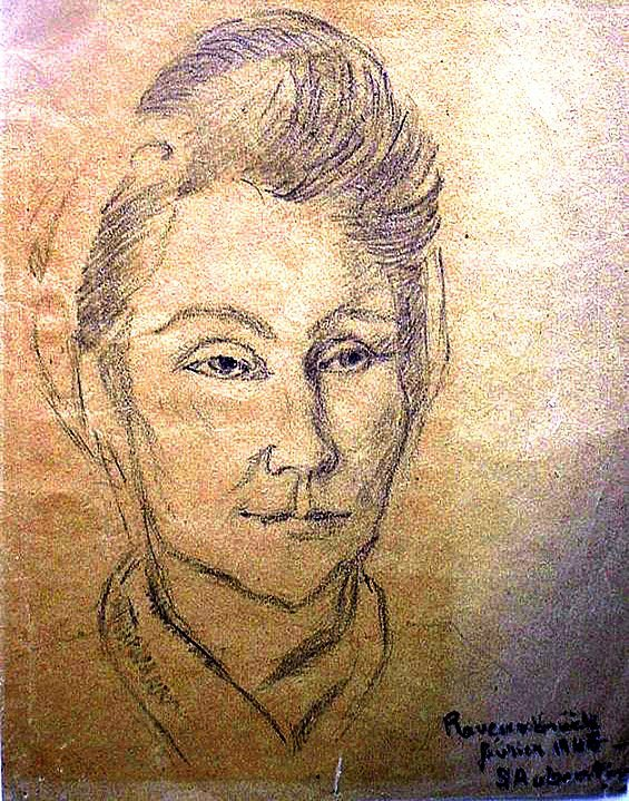 Yvonne de Komornika, gezeichnet von S. Aubertin, einer Mitgefangenen im KZ Ravensbrück , ca. 1944