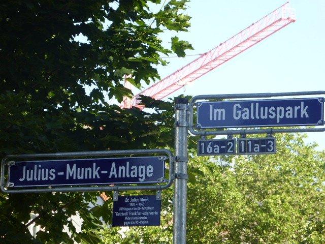 Straßenschild Julius Munk in Frankfurt/Main