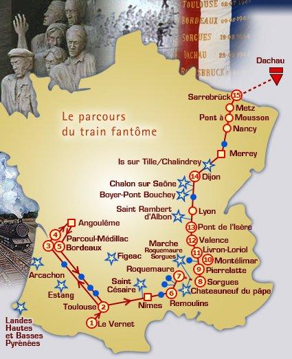 Fahrtroute des Train Fantôme 1944; Quelle: amicale du train fantôme