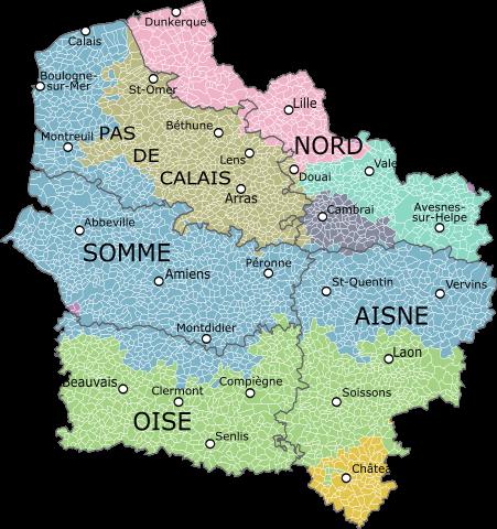 bisherige Regionen und Landschaften; Quelle: Oie blanche, Wikipedia
