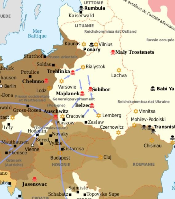 Deutsche Vernichtungslager und Mordstätten im besetzten Osteuropa; © Sémhur / Wikimedia Commons / CC BY-SA-3.0