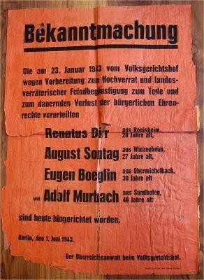 NS-Plakat Hinrichtung von Widerstandskämpfern; Quelle: antifalsace