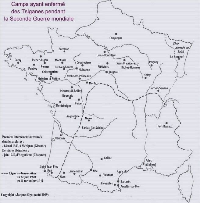 Karte mit Lagerstandorten; © Jacques Sigot