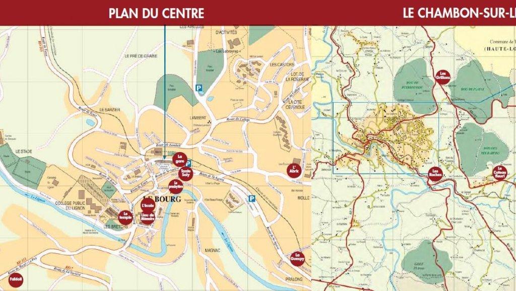 Lage der Heime auf dem Ortsplan von Chambon; Quelle: Ville de Chambon