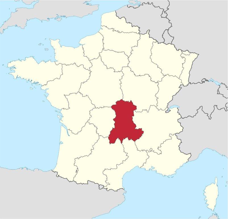 Lage der ehemaligen Region Auvergne; Quelle: Wikimedia Commons