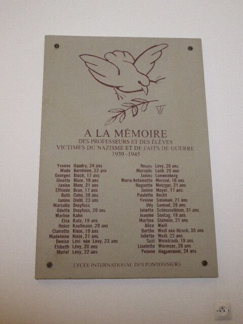 Gedenktafel deportierte Lehrer und Schüler des Lycée Pontonniers