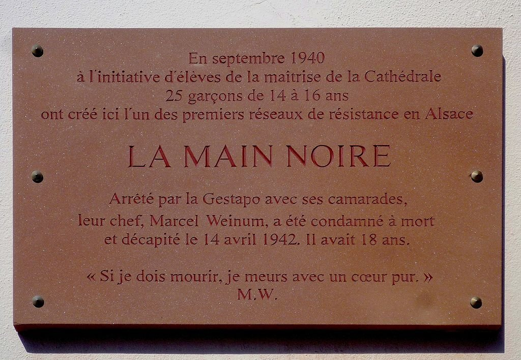 Gedenktafel La Main Noire/M. Weinum;  Foto: Claude Truong-Ngoc, Wikimedia Commons, CC-BY-SA-3.0