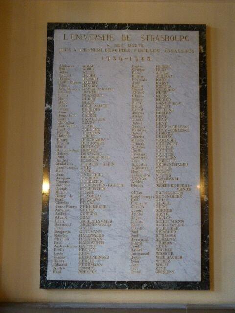 Gedenktafel an Opfer/Universität Strasbourg