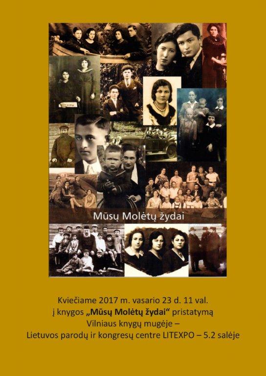 """Einladung zur Buchpräsentation """"Unsere Juden aus Molėtai"""" des Regionalmuseums Molėtai auf der Buchmesse in Vilnius am 23. Februar 2017 (Buchcover)"""