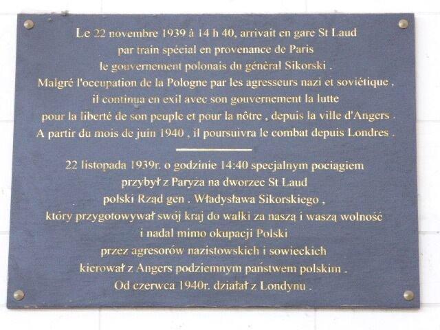 Ankunft der polnischen Exilregierung, Tafel im Bahnhof