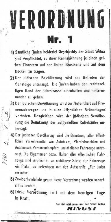 Verordnung Nr. 1 vom 2. August 1941