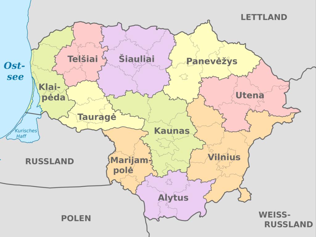 Die zehn Bezirke Litauens (Wikimedia Commons)