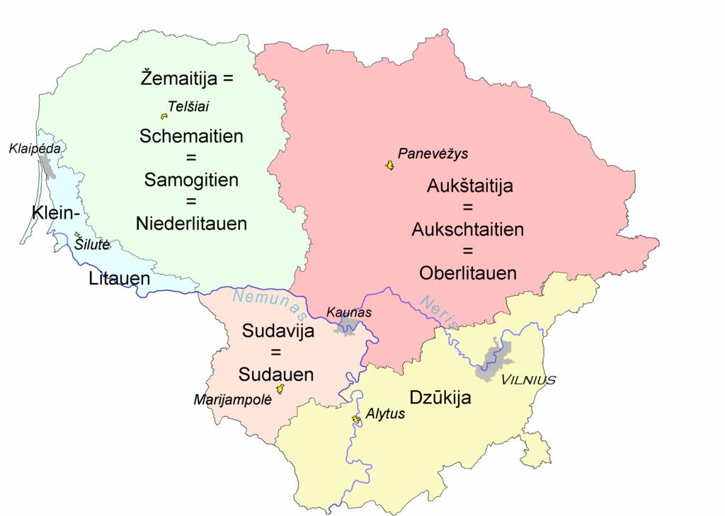 Historische Regionen Litauens (Wikimedia Commons)