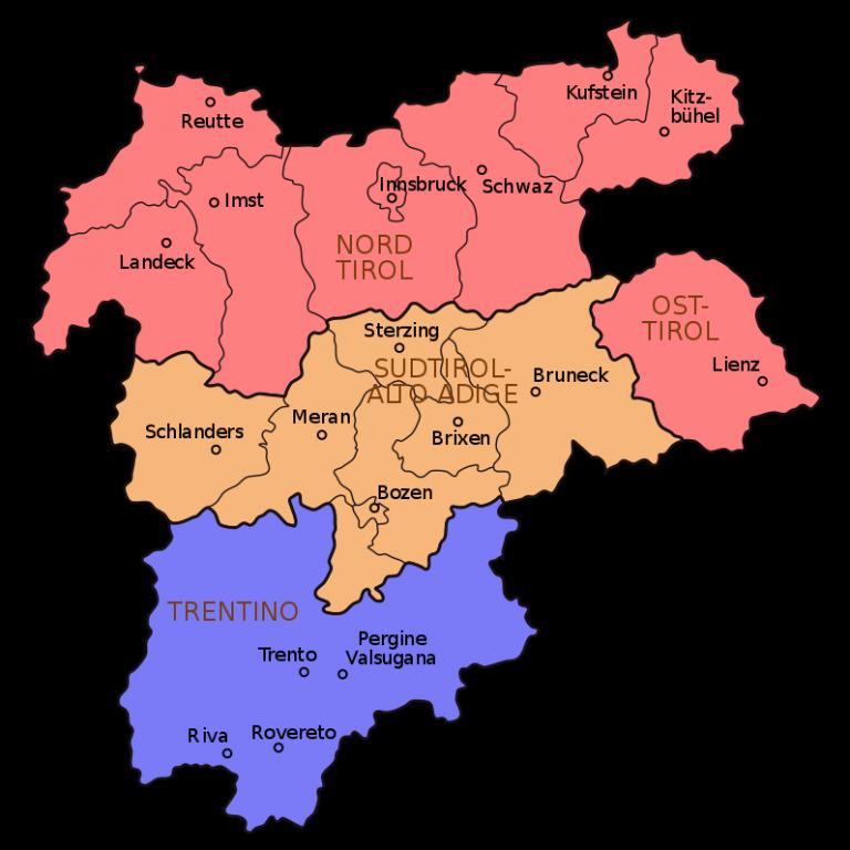 Karte Tirol-Südtirol-Trentino (Stand Mai 2009)  (wiki)