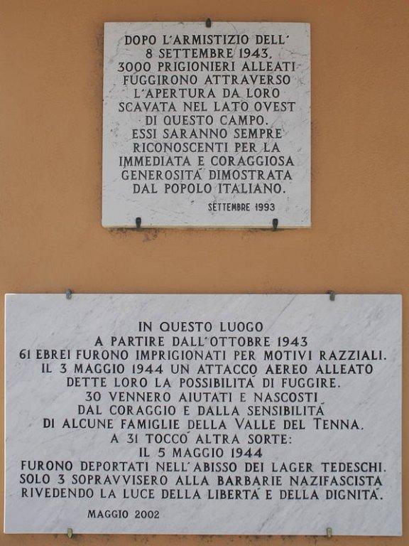 Gedenktafeln am Parco della Pace