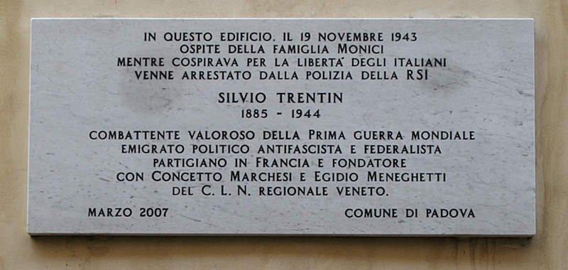 Gedenktafel für Silvio Trentin