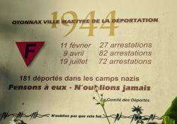 Tafel am Totendenkmal: 181 Deportierte; Quelle: Université de Lille