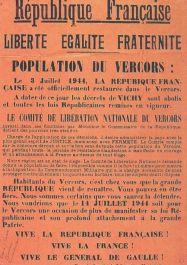 Plakat zur Wiederherstellung der Französischen Republik; © Musée de la Résistance et de la Déportation de l'Isère