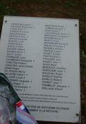 Gedenktafel mit Namen der Deportierten des Ortes