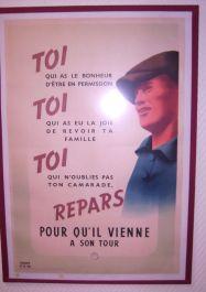 Vichy-Plakat fordert dazu auf, in Deutschland zu arbeiten, damit Kriegsgefangene freikommen (vgl. Relève, STO)
