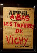 """Aufruf von Pétain, übermalt von der Résistance (""""Nieder mit den Verrätern von Vichy"""")"""