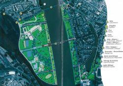Plan des Jardin des Deux Rives mit Stelen u.a.