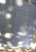 Bodenplatte mit Namen u. Alter der Erschossenen, Belle-Beille