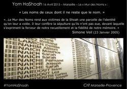 Namen der Shoah-Opfer (Ausschnitt); Quelle: Crif Marseille