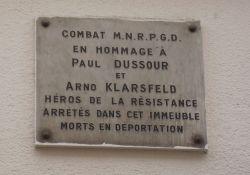 Tafel für P. Dussour und A. Klarsfeld