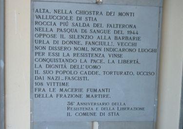Gedenktafel am Rathaus von Stia