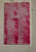 Tafel der in den KZ umgekommenen Deportierten