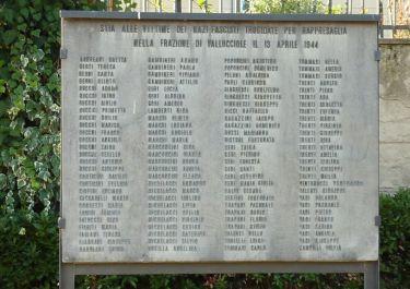 Tafel mit Namen der Opfer von Vallucciole