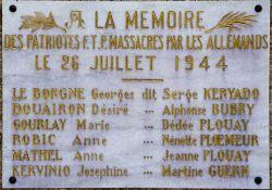 Gedenktafel am Monument mit den 6 Namen